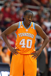 Dec 20, 2011; Stanford CA, USA;  Tennessee Lady Volunteers guard/forward Shekinna Stricklen (40) during a stoppage in play against the Stanford Cardinal during the first half at Maples Pavilion.  Stanford defeated Tennessee 97-80. Mandatory Credit: Jason O. Watson-US PRESSWIRE