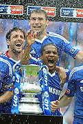 Wembley FA Cup Final Chelsea v Portsmouth 15/05/2010.Florent Malouda (Chelsea) celebrates double with the cup.