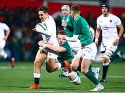 Cadan Murley of England U20 is tackled by Martin Moloney of Ireland U20 - Mandatory by-line: Ken Sutton/JMP - 01/02/2019 - RUGBY - Irish Independent Park - Cork, Cork - Ireland U20 v England U20 -