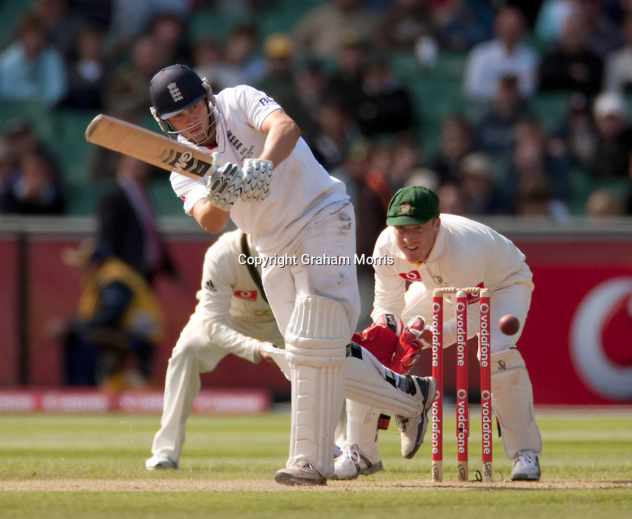 Jonathan Trott bats during the fourth Ashes test match between Australia and England at the MCG in Melbourne, Australia. Photo: Graham Morris (Tel: +44(0)20 8969 4192 Email: sales@cricketpix.com) 27/12/10