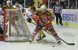 14.12.2014, Stadthalle, Klagenfurt, AUT, EBEL, EC KAC vs Dornbirner Eishockey Club, 27. Runde, im Bild Stefan Geier (EC KAC, #19), Nathan Lawson (Dornbirner Eishockey Club, #52), Andy Sertich (Dornbirner Eishockey Club, #10), Thomas Koch (EC KAC, #18) // during the Erste Bank Icehockey League 27th round match betweeen EC KAC and Dornbirner Eishockey Club at the City Hall in Klagenfurt, Austria on 2014/12/14. EXPA Pictures © 2014, PhotoCredit: EXPA/ Gert Steinthaler
