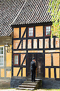 Half-timbered buildings at Den Gamle By, The Old Town, open-air folk museum at Aarhus,  East Jutland, Denmark