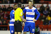QPR forward Sebastian Polter talks to the ref during the Sky Bet Championship match between Nottingham Forest and Queens Park Rangers at the City Ground, Nottingham, England on 26 January 2016. Photo by Aaron Lupton.