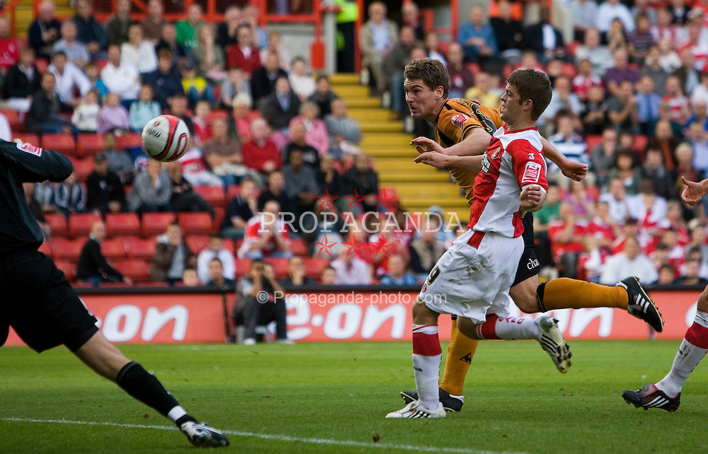 LONDON, ENGLAND - Saturday, September 13, 2008: Wolverhampton Wanderers' Sam Vokes scoring the third Wolves goal against Charlton Athletic during the League Championship match at The Valley. (Photo by Chris Ratcliffe/Propaganda)