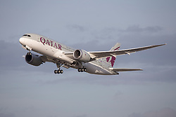 © under license to London News Pictures. QATAR Airways Boeing 787 Dreamliner Departs London Heathrow Airport<br /> <br /> Photo credit should read IAN SCHOFIELD/LNP
