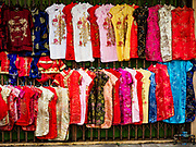 16 FEBRUARY 2018 - BANGKOK, THAILAND:  Chinese New Years dresses for sale during Chinese New Year celebrations in the Chinatown neighborhood of Bangkok. Thailand has a large Chinese community and Lunar New Year is widely celebrated, especially in larger cities.       PHOTO BY JACK KURTZ