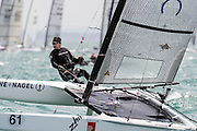 Raimer Boher (GER6), race three of the A Class World championships regatta being sailed at Takapuna in Auckland. 12/2/2014