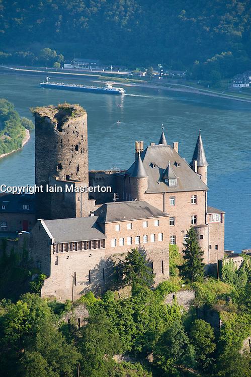Historic  Burg Katz above River Rhine at St Goarhausen, Rhineland Palatinate Germany
