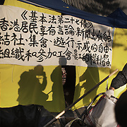 Writing on a tent wall in what is left of the Umbrella Movement tent city next to the Central Government Offices. <br />
