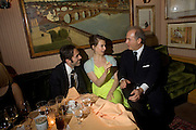 GIAMBATTISTA VALLI, ELETTRA WIEDEMANN AND CHARLES FINCH, Pre Bafta dinner hosted by Charles Finch and Chanel. Mark's Club. Charles St. London. 9 February 2008.  *** Local Caption *** -DO NOT ARCHIVE-© Copyright Photograph by Dafydd Jones. 248 Clapham Rd. London SW9 0PZ. Tel 0207 820 0771. www.dafjones.com.