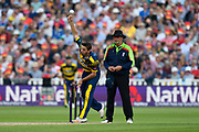 Andrew Salter of Glamorgan bowling during the NatWest T20 Finals Day 2017 semi final match between Birmingham Bears and Glamorgan County Cricket Club at Edgbaston, Birmingham, United Kingdom on 2 September 2017. Photo by Graham Hunt.