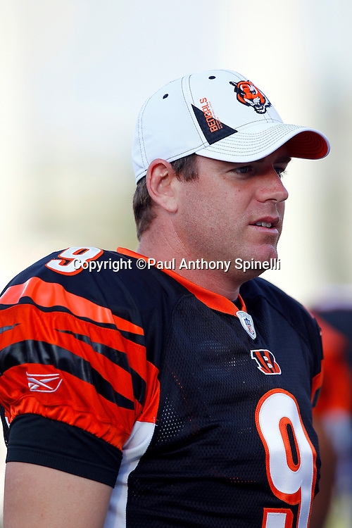 Cincinnati Bengals quarterback Carson Palmer (9) looks on during the NFL Pro Football Hall of Fame preseason football game between the Dallas Cowboys and the Cincinnati Bengals on Sunday, August 8, 2010 in Canton, Ohio. The Cowboys won the game 16-7. (©Paul Anthony Spinelli)
