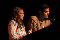 Uma Pemmaraju of Fox News and Hari Sreenivasan of CBS News, emcees for the banquet and awards dinner at Columbia University for the 2009 SAJA Convention