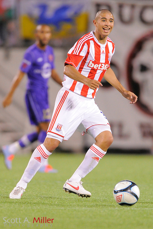 Stoke City Potters midfielder Diego Arismendi (32) in action against the Orlando City Lions at the Florida Citrus Bowl on July 28, 2012 in Orlando, Florida. Stoke won 1-0...© 2012 Scott A. Miller.
