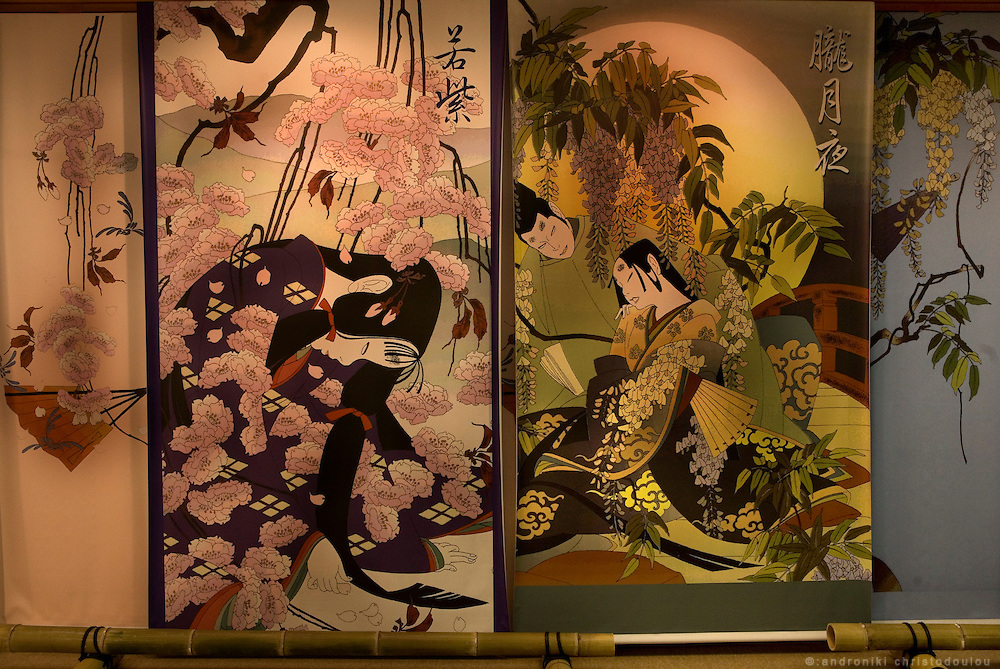 "A decorative screen with scenes from the novel ""The Tale of Genji"", exhibited at Ishiyamadera Temple as part of the 1000 years since it was written celebrations..."