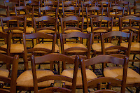 Our Lady of Chartres Cathedral, Chartres, France. Rows of empty chairs for the congregation.