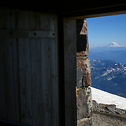 Mount Adams is seen from the historic pubic bunkhouse at Camp Muir on the slopes of Mount Rainier on June 30, 2015. The iconic Pacific Northwest volcano is a popular challenge for mountaineers.  (Joshua Trujillo, seattlepi.com)