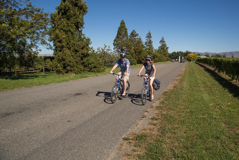 Riding from vineyard to vineyard in the Marlborough Region.
