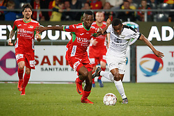 April 7, 2018 - Oostende, BELGIUM - Oostende's Emmanuel Banda and Eupen's Mamadou Kone fight for the ball during a soccer game between KV Oostende and KAS Eupen, in Oostende, Saturday 07 April 2018, on day two of the Play-Off 2B of the Belgian soccer championship. BELGA PHOTO KURT DESPLENTER (Credit Image: © Kurt Desplenter/Belga via ZUMA Press)