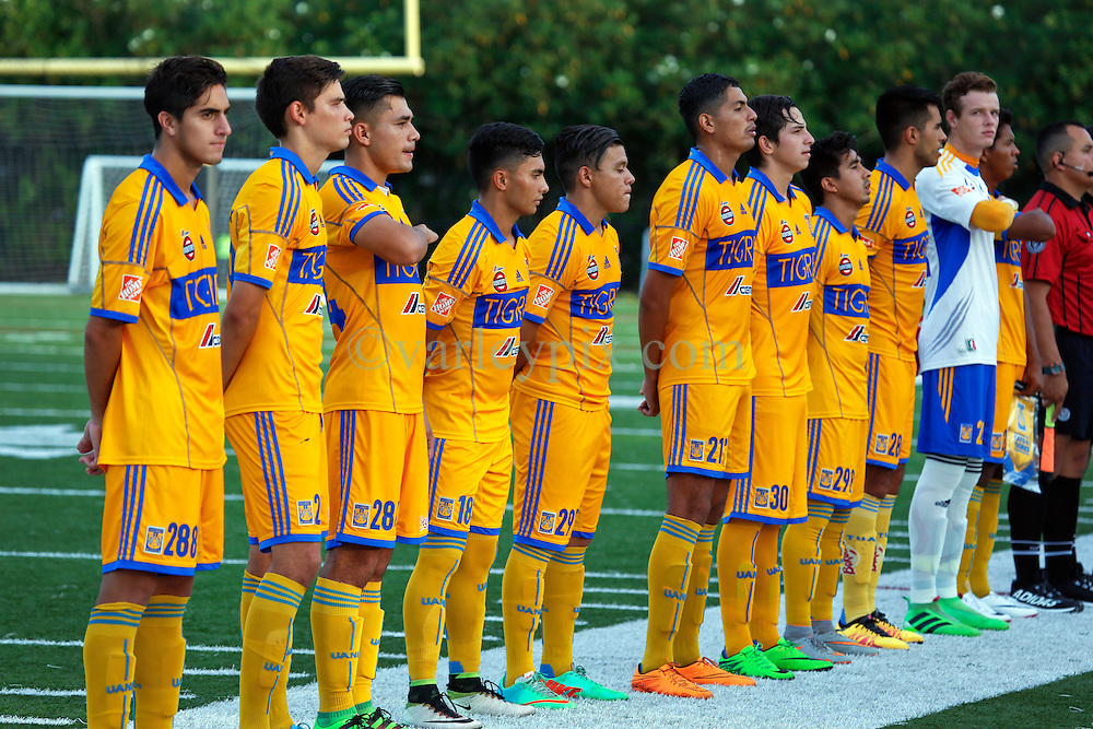 12 July 2016. New Orleans, Louisiana.<br /> NPSL Soccer, Pan American Stadium.<br /> The UANL Tigres from Monterrey, Mexico before kick off against the New Orleans Jesters. <br /> Jesters draw 1-1 at full time, going on to lose the penalty shoot out.<br /> Photo; Charlie Varley/varleypix.com