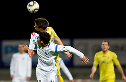 Vito Plut of Gorica vs Luka Elsner of Domzale during football match between NK Domzale and HIT Gorica of 25th Round of PrvaLiga, on April 1, 2011, in Sports park Domzale, Slovenia. (Photo by Vid Ponikvar / Sportida)