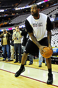 Dec. 2, 2010; Cleveland, OH, USA;  Miami Heat small forward LeBron James (6) warms up prior to the game against Cleveland Cavaliers at Quicken Loans Arena. Mandatory Credit: Jason Miller-US PRESSWIRE