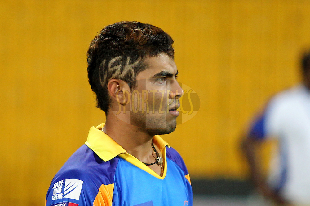 R. Jadeja with new hair style during warmup session before match 24 of the the Indian Premier League ( IPL) 2012  between The Chennai Superkings and the Pune Warriors India held at the M. A. Chidambaram Stadium, Chennai on the 19th April 2012..Photo by Prashant Bhoot/IPL/SPORTZPICS