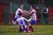 Dorking Wanderers Matt Briggs celebrates a late goal to win 2-1 during the Ryman League - Div One South match between Dorking Wanderers and Lewes FC at Westhumble Playing Fields, Dorking, United Kingdom on 28 January 2017. Photo by Jon Bromley.