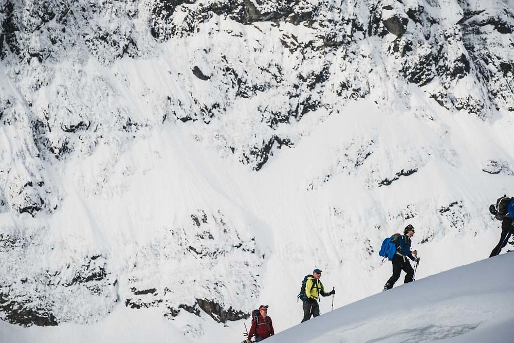 Josh Breau, Hank Wissenz, and John Connolly below the flanks of Hut Peak, Howson Range, British Columbia.