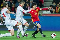 Macedonia's Darko Velkovski Spain's David Silva  during the match of European qualifying round between Spain and Macedonia at Nuevo Los Carmenes Stadium in Granada, Spain. November 12, 2016. (ALTERPHOTOS/Rodrigo Jimenez)