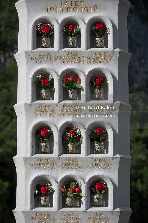 The names of local men killed during WW1, in a rural Slovenian village church, on 18th June 2018, in Bohinjska Bela, Bled, Slovenia.