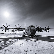 Boarding an LC-130, with engines running, at the South Pole for the flight to McMurdo Station on the coast of Antarctica about 800 miles away.