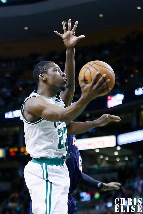29 March 2013: Boston Celtics shooting guard Jordan Crawford (27) goes for the layup during the Boston Celtics 118-107 victory over the Atlanta Hawks at the TD Garden, Boston, Massachusetts, USA.