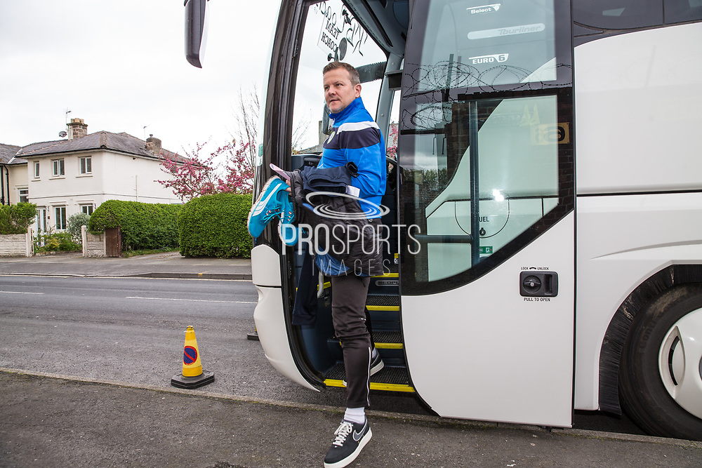 Forest Green Rovers manager, Mark Cooper steps from the team coach during the Vanarama National League match between Southport and Forest Green Rovers at the Merseyrail Community Stadium, Southport, United Kingdom on 17 April 2017. Photo by Shane Healey.