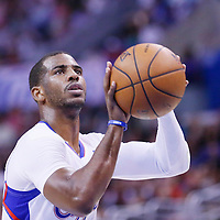 15 April 2014: Los Angeles Clippers guard Chris Paul (3) is seen at the free throw line during the Los Angeles Clippers 117-105 victory over the Denver Nuggets at the Staples Center, Los Angeles, California, USA.