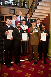 British Army Enlistments Oath of Allegiance held at the Mansion House Doncaster South Yorkshire. From left to right .(front row) Louis Kay, Parbjot Singh, Deputy Mayor of Doncaster, Councillor Patricia Schofield  Sjt David Hack of 3 Rifles with ACIO (Army Careers Information Office) Doncaster Mandeep Singh.(back row) Gareth Carey, Andrew Brailsford and Adam Wilbourn and Andrew Knightstone.14 January 2010.Images © Paul David Drabble