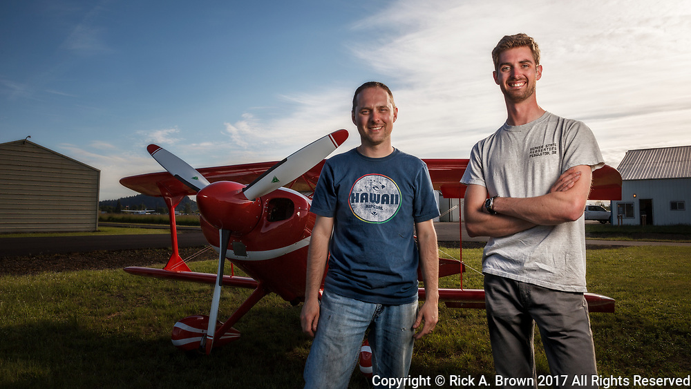 Builder/owner Tony Horvath and test pilot Sean VanHatten with Specialty Aero's newly completed Pitts.