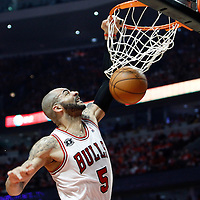 10 May 2011: Chicago Bulls power forward Carlos Boozer (5) dunks the ball during the Chicago Bulls 95-83 victory over the Atlanta Hawks, during game 5 of the Eastern Conference semi finals at the United Center, Chicago, Illinois, USA.