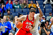 Mississippi Rebels center Dominik Olejniczak (13) dribbles the the ball against the Middle Tennessee Blue Raiders during an NCAA college basketball game in Nashville, Tenn., Friday, Dec. 21, 2018. (Jim Brown/Image of Sport)