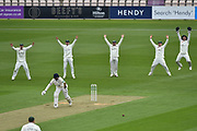 The Worcestershire slip fielders appeal for an LBW against James Vince of Hampshire whch is given not out during the Specsavers County Champ Div 1 match between Hampshire County Cricket Club and Worcestershire County Cricket Club at the Ageas Bowl, Southampton, United Kingdom on 13 April 2018. Picture by Graham Hunt.