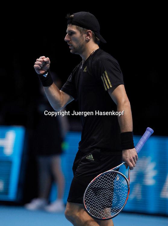 ATP World Tour Finals  2010 in der O2 Arena in London, HerrenTennis Turnier, WM, Weltmeisterschaft, Doppel,   Juergen Melzer (AUT) macht die Faust und jubelt,Jubel,Emotion,