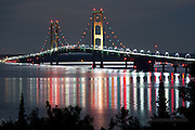 Mackinac Bridge, night reflections2