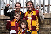 Bradford City fans during the Sky Bet League 1 play off first leg match between Bradford City and Millwall at the Coral Windows Stadium, Bradford, England on 15 May 2016. Photo by Simon Davies.