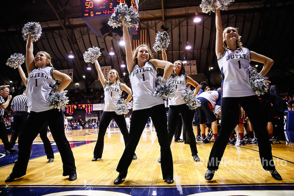 INDIANAPOLIS, IN - JANUARY 19: Members of the Butler Bulldogs dance team seen on the court during the game against the Gonzaga Bulldogs at Hinkle Fieldhouse on January 19, 2013 in Indianapolis, Indiana. Butler defeated Gonzaga 64-63. (Photo by Michael Hickey/Getty Images)