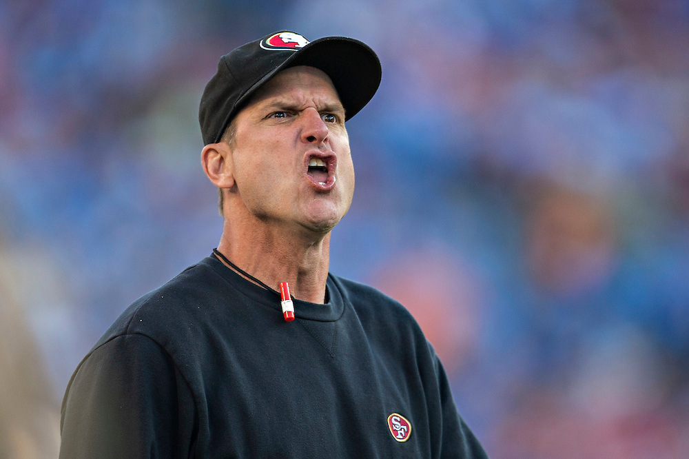NASHVILLE, TN - OCTOBER 20:  Head Coach Jim Harbaugh of the San Francisco 49ers yells at the officials during a game against the Tennessee Titans at LP Field on October 20, 2013 in Nashville, Tennessee.  The 49ers defeated the Titans 31-17.  (Photo by Wesley Hitt/Getty Images) *** Local Caption *** Jim Harbaugh