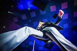 A wide angle shot of the frontman Nick Cave passing over the photo pit, Nick Cave and the Bad Seeds, on stage tonight at The Barrowlands, Glasgow, Scotland.<br /> &copy;Michael Schofield.