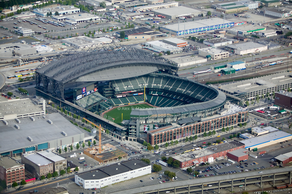 View of Safeco Field, home to the Seattle Mariners. The stadium was built by NBBJ 360 Architecture and opened  in 1999. sited from Wikipedia