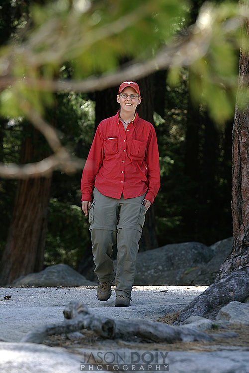 Deb Mosley has metastatic cancer, but that doesn't stop her from climbing half dome for the third time to raise money for cancer research...photo by Jason Doiy