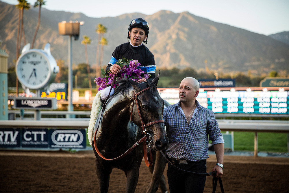 March 07 2015: Shared Belief  with jockey Mike Smith up wins The GI Santa Anita Handicap at Santa Anita Park in Arcadia CA. Alex Evers/ESW/CSM