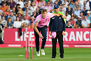 Tom Helm of Middlesex bowling during the Vitality T20 Blast South Group match between Somerset County Cricket Club and Middlesex County Cricket Club at the Cooper Associates County Ground, Taunton, United Kingdom on 30 August 2019.